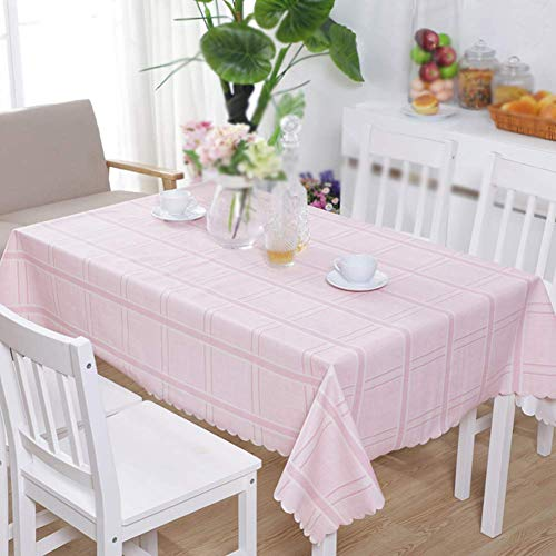 Unbekannt Check PVC Table Cloth Waterproof, Rectangle Wipeable Table Cover Protector Anti-scalding Oil-Proof Dining Coffee Table Home-pink 130x190cm(51x75inch) -