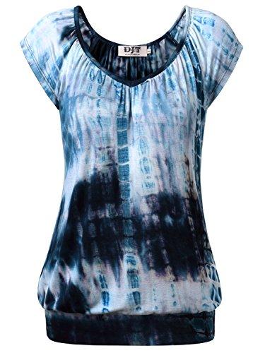 DJT Femme T-shirt Hauts basique Casual Tops Plisse Leger pour ete Bleu-Marine