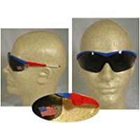 Mcr Safety ST142Storm cricchetto a baionetta tempio Single Lens occhiali telaio rosso/bianco/blu e grigio US Flag Lens, 12-pair