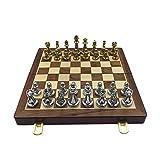YOBENS NBM Easytoday Métal Brillant Doré Et Argent Pièces D'échecs en Bois Massif Échiquier Pliant De Haute Qualité Professionnel Jeu D'échecs Set