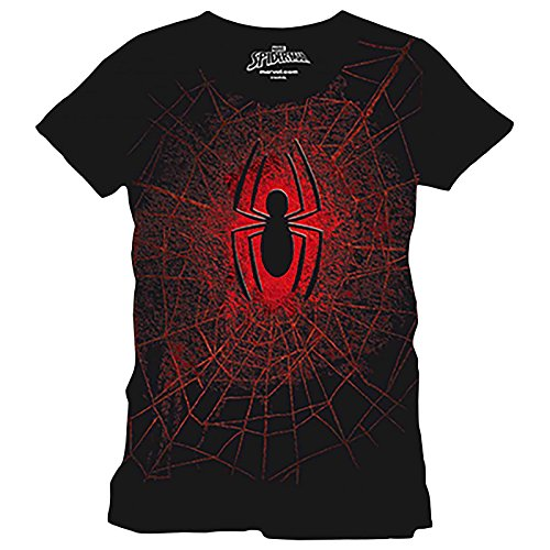 Spider-Man Men's T-Shirt Logo Web spider web Marvel cotton black - M