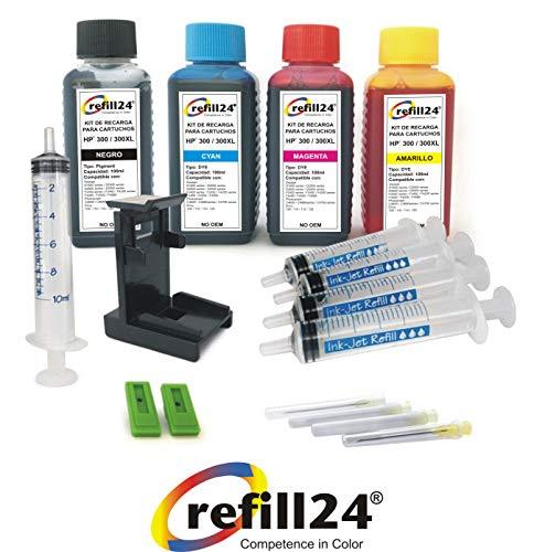 Kit de Recarga para Cartuchos de Tinta HP 300, 300 XL Negro y Color, Incluye Clip y Accesorios + 400 ML Tinta