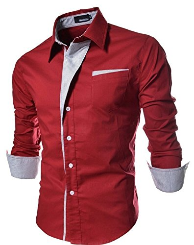 Pearl-Ocean-Mens-Cotton-Crush-Casual-Shirt-red-party-wear-shirt-XLRedMedium