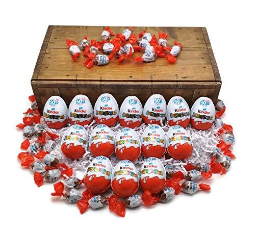 Preisvergleich Produktbild 15 Kinder Überraschungseier + 200g Schokobons mit Geschenkkarton in Schatzkisten Optik