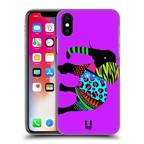 Head Case Designs Giraffa Silhouette Di Animali Neon Cover Retro Rigida per Apple iPhone X Elefante