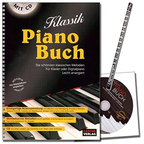 Klassik Piano Buch - Spielbuch für Klavier mit CD und Piano Bleistift - wunderbare Sammlung der 50 beliebtesten und schönsten klassischen Melodien - für Anfänger und Wiedereinsteiger.
