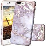 iPhone 7 Plus Hülle, JIAXIUFEN Shiny Rose Gold Purple Marmor Flexible TPU Silikon Schutz Handy Hülle Handytasche HandyHülle Schale Case Cover Schutzhülle für Apple iPhone 7 Plus /iPhone 8 Plus