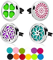 Car Diffuser Vent Clip, Car Essential Oil Diffuser Clips Aromatherapy Locket Air Freshener with 48 Refill Pads