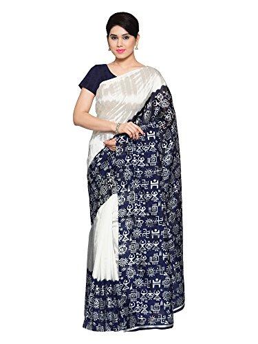 Oomph! Women's with Blouse Piece Art Silk Saree (rbks_Pearl White & Indigo...