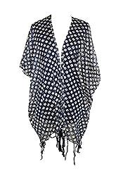 URBAN TRENDZ 2362 Printed Kimono Topper with fringes