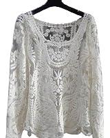 reine à la mode- Femme T-shirt Style Vintage Transparente avce Dentelle et Flower Lace Tee (taille normale XS-M, Blanc)