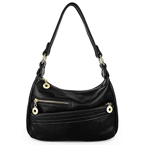 UTO Damen Handtasche PU Leder klein Purse Hobo Stil Schultertasche schwarz (Bag Handtasche Leder Hobo Clutch)