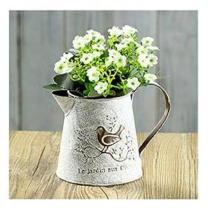 VANCORE Französisch Stil Weiß Shabby Chic Mini-Metall-Pitcher Blumen-Vase mit Vintage Vogel Dekorative, Schmiedeeisen manuelle Pflanzen Vase mit Klassik