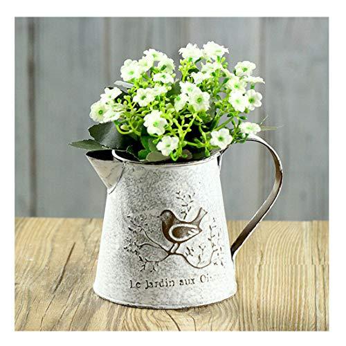 VANCORE Französisch Stil Weiß Shabby Chic Mini-Metall-Pitcher Blumen-Vase mit Vintage Vogel Dekorative, Schmiedeeisen manuelle Pflanzen Vase mit Klassik -