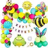 MMTX Compleanno Festa Decorazioni Giardino Colorato Palloncini per Ragazzo Ragazza Giardino Bambini Compleanno,Giungla Insetto Farfalla Ape Rana lumache Palloncini Foglie Palma Birthday Bandiera
