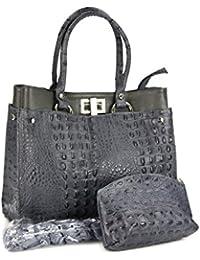 a3a83ce7141c8 Belli Set 3in1 (Geschenk Set) BORSE IN Pelle grau - Echt Leder Handtasche  in Kroko Prägung 31x25x16 cm (B x H…