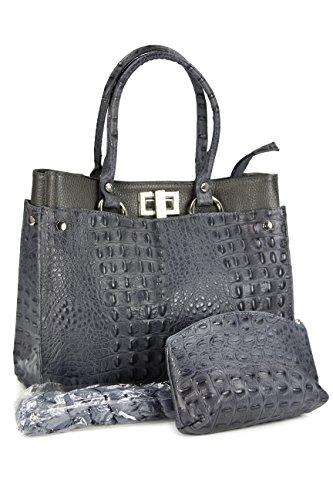 Belli SET 3in1 (Geschenk Set) BORSE IN PELLE grau - Echt Leder Handtasche in Kroko Prägung 31x25x16 cm (B x H x T) (Handtasche Leder Prägung)