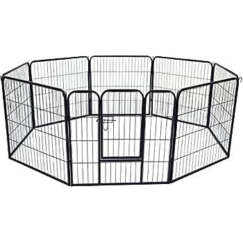 PawHut Parc Enclos pour Chiens Choits Animaux de Companie 8 Pièces 80L x 80Hcm Tube d?Acier Noir Neuf 05