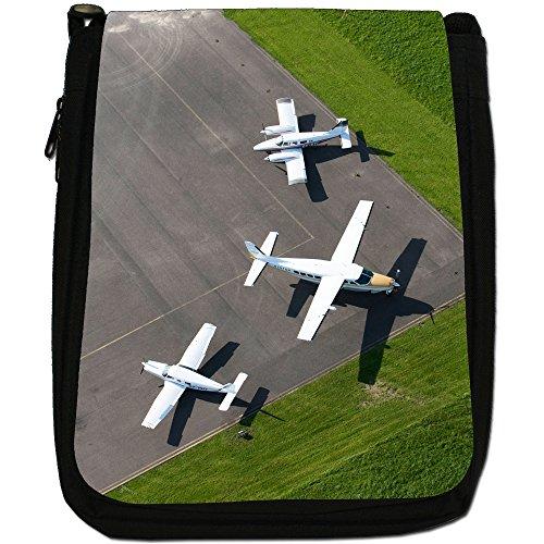Velivoli con motivo aeroplani di Planes, colore: nero, Borsa a spalla in tela da uomo, taglia media Aerial View Different Aircraft