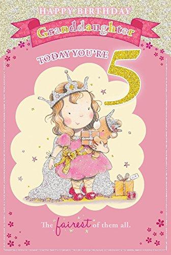 Candy Club - Biglietto di auguri per 5° compleanno della nipotina, motivo: piccola principessa con pacchetto regalo, 23 x 15 cm