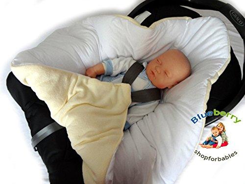BlueberryShop Gemütlich Vlies für AUTOSITZ Wickeldecke Decke Schlafsack für Neugeborene, GESCHENK für Baby ( 0-3m ) ( 78 x 78 cm ) Weiß