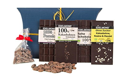 Edelmond® 100% Premium Schokoladen Geschenk-Set ✓ Zuckerfrei ✓ Bio Edel-kakaobohnen ✓ Vegan & Fairtrade | Geschenkidee für Mann & Frau | Ideales Schokoladengeschenk, Oster-Geschenk, Geburtstags-Geschenk | Geschenkbox mit bitterster Schokolade der Welt