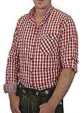 Trachtenhemd Lutz mit Stehkragen und Krempelärmeln 100% Baumwolle verschiedenen Ausführungen, Größen:XXL;Farben:rot - weiss