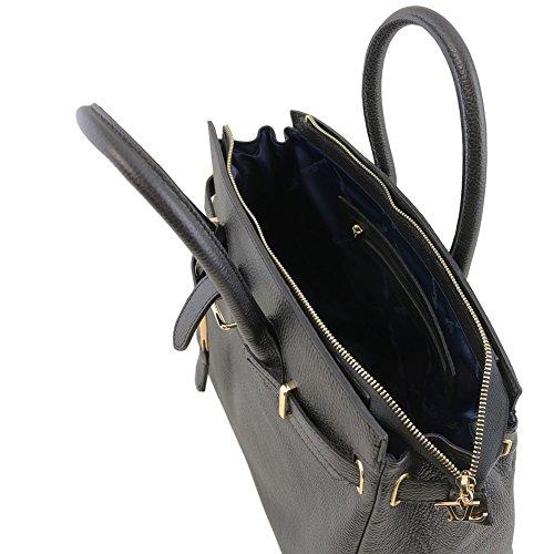Tuscany Leather - TL Bag - Sac à main pour femme avec finitions couleur or - TL141529 (Bleu céleste) Noir
