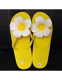 XIAMUO Koreanischen Sommer neuen Stil Original Hand tragen Blume am Meer Flip-Flip Sandalen Flip Flop Sandalen und Hausschuhe Frauen M (37-38) Schwarz unten - Plumeria