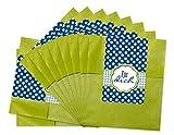 25 kleine grüne Papiertüten Geschenktüten (9 x 14 cm + 2) Geschenk-Verpackung mit Text - Für Dich -; Partytüten mit Aufkleber