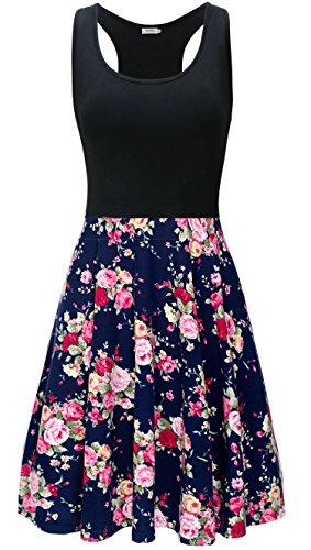 KorMei Damen Ärmelloses Beiläufiges Strandkleid Sommerkleid Tank Kleid Ausgestelltes Trägerkleid Blau Rose Blume-D40 XL