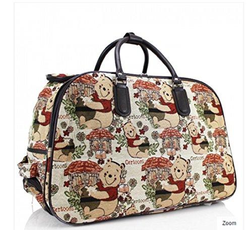 LeahWard® Damen Eule / Schmetterling Drucken Reisetasche Reisetasche Handgepäck Damen Wochenende Handtasche Auf Rädern Wagen CWS00308 CWS00308C WN 04 Bear Gepäck