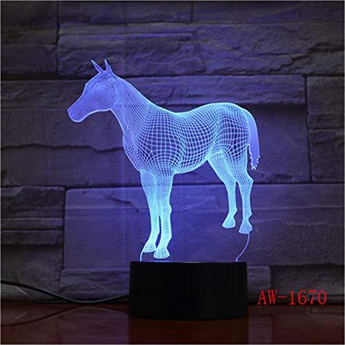 3D Nachtlicht Tier Pferd 3D Nachtlicht 7 Bunte Touch Remote Usb Geschenke 3D Leuchten Usb Led Luminaria De Mesa Tischleuchte Aw-1670