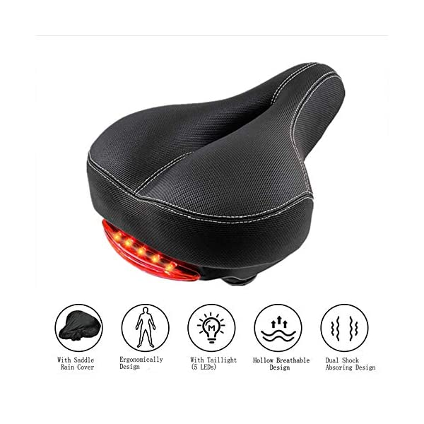 Tremendous Comfortable Bike Seat Cushion With Taillight For Men Women Ibusinesslaw Wood Chair Design Ideas Ibusinesslaworg