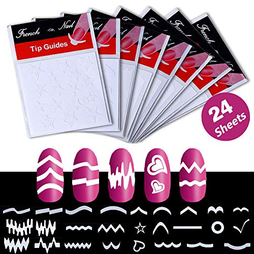 Ebanku 24 Blatt Französisch Nail Art Aufkleber Maniküre, DIY selbstklebende Nail Tip Schablonen Dekorationen Form Fringe Guides Vinyl verschiedene Formen (weiß) -