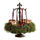 Loberon Adventskranzständer Antwan, Weihnachten, Gusseisen, antikbraun