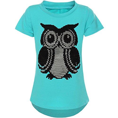 BEZLIT Mädchen Kurzarm T-Shirt Wende-Pailletten Motiv Glitzer Bluse 21286, Farbe:Grün;Größe:116