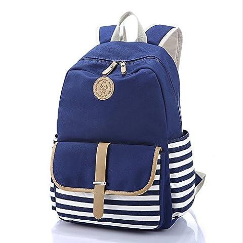 YSBER Preppy French Breton Nautique à rayures sac à dos Sac à dos Marine Sailor Marine Stripy sacs scolaires pour les adolescents et les garçons (Bleu)