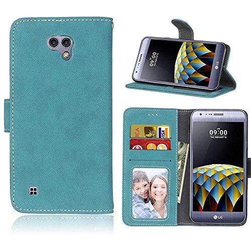 LG X Cam (K580, 5.2'') Hülle, Cozy hut TPU Silikon Hybrid Handy Hülle Matte Series Case Durchsichtig Stoßfest Tasche Schutz Scratch-Resistant protection Case Tasche Schutzhülle Cover Handyhülle Etui Shell für LG X Cam (K580, 5.2'') Schutzhülle Folio Magnetverschluss Flip Case Wallet Taljereep Fall Handyhülle mit Kartenfach und Standfunktion - Blau scheuert