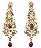 Touchstone indischen Bollywood Strass/Faux Amethyst violett Braut Designer Schmuck Ohrringe für Damen in Antik Gold Ton