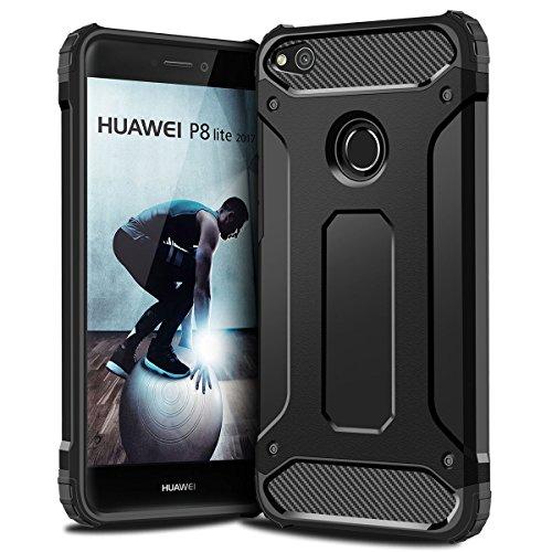 P8 Lite 2017 Hülle, Coolden Premium [Armor Serie] Outdoor Stoßfest Handyhülle Silikon TPU + PC Bumper Cover Doppelschichter Schutz Hülle für Huawei P8 Lite 2017,Huawei P9 Lite 2017, Nova Lite 2017, Honor 8 Lite (Schwarz)
