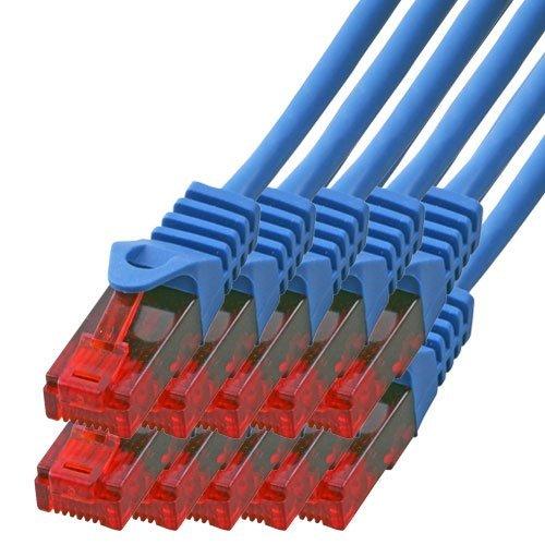 BIGtec - 10 Stück - 0,25m Gigabit Netzwerkkabel Patchkabel Ethernet LAN DSL Patch Kabel blau ( 2x RJ-45 Anschluß , CAT.5e , kompatibel zu CAT.6 CAT.6a CAT.7 ) 0,25 Meter (Patch-kabel Telefon)