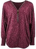 Emma & Giovanni - Damen - Langarmshirt - Pullover - Top & Shirt (XL/XXL, Bordeaux)