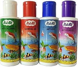 Jainsons Pet Products Anti-Chlorine + General Aid + Anti-Ich + Anti Fungus Rid-All Aquarium Fishes - 120 Ml (4 Bottles)