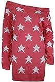 Damen Langarm Schulterfreier Pullover Strickpullover Kleid mit Sternen Übergröße Top - S/M 34/36, Koralle