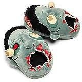 Katara - Chaussons Halloween Zombies en peluche - Pantoufles chaudes unisexe- design de film d'horreur/ zombie avec un oeil crevé - taille unique adaptée aux tailles 36-44