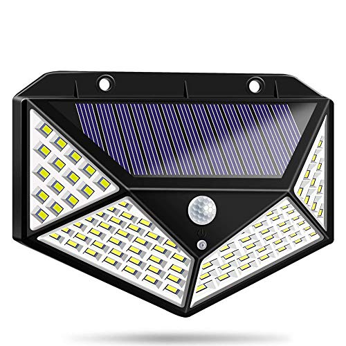 XJHJKR 100 LED Solar Wandleuchte Solarlampen Außen Mit Bewegungsmelder 2200Mah Superhelle Solarlicht 270°Solar Beleuchtung wasserdichte 3 Modi Für Garten