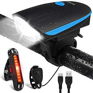 51N9WIuCelL. SS300 OMERIL Luci Bicicletta LED Ricaricabili USB con Clacson, Luce Bici Anteriore e Posteriore Super Luminoso Luce Bici LED…