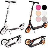 Ultimate iScoot© X50 Black Adult City Push Kick Scooter with Large 200MM Wheels, Dual Front and Rear Spring Comfort Suspension, Kick Stand, Mud / Rain Guards and Folding Frame with Carry Stray - Easy to Carry Light Weight Aluminium Kickboard