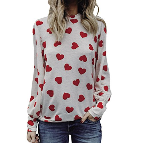 HUHU833 Femme tee shirt Casual Amour à Manches longues mode Tops chic Sweater Tee-Shirt Blouse Pastèque rouge